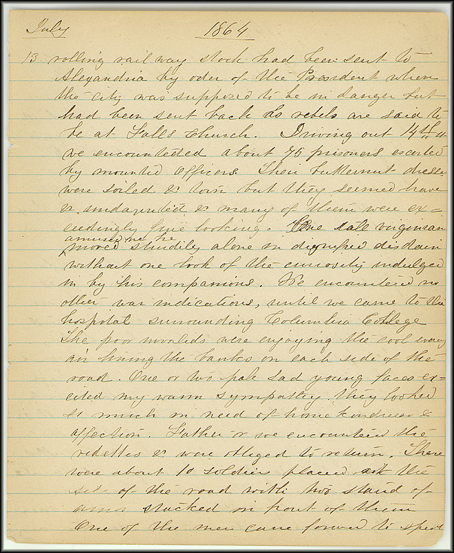 Mary Henry Diary, Southern Army - July, 1864 - Page 5
