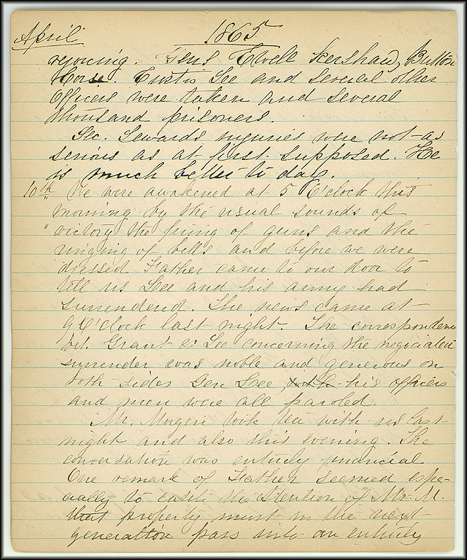 Mary Henry Diary, End of War - April, 1865 - Page 6