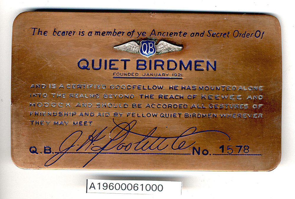 Membership Card, Quiet Birdmen, James H. Doolittle,Membership Card, Quiet Birdmen, James H. Doolittle