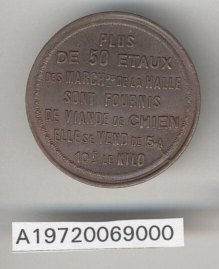 Token, Food Price, Siege of Paris