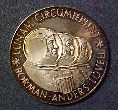 Medal, Commemorative, Apollo 8, Bavarian State Mint,Medal, Commemorative, Apollo 8, Bavarian State Mint