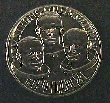 Medal, Commemorative, Apollo 11, The Franklin Mint,Medal, Commemorative, Apollo 11, The Franklin Mint