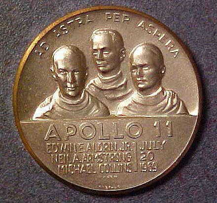 Medal, Commemorative, Apollo 11, Lombardo Mint,Medal, Commemorative, Apollo 11, Lombardo Mint
