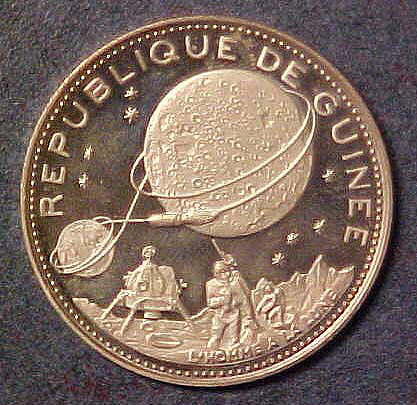 Coin, Commemorative, Apollo 11, Republic of Guinea,Coin, Commemorative, Apollo 11, Republic of Guinea