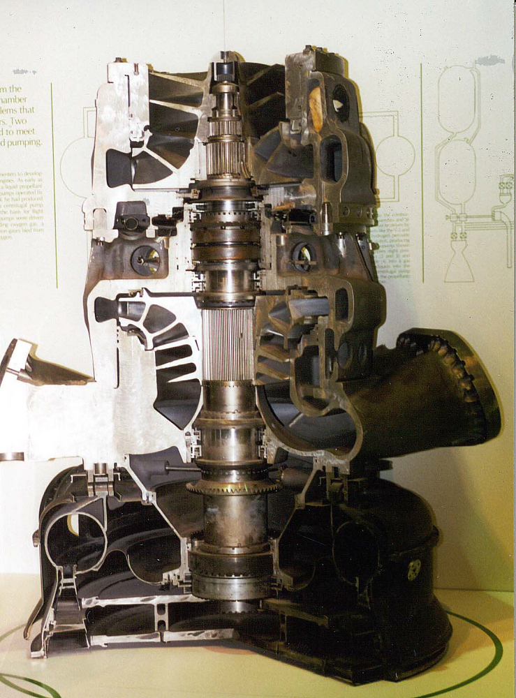 Rocket Engine Turbo Pump, Cutaway, F-1