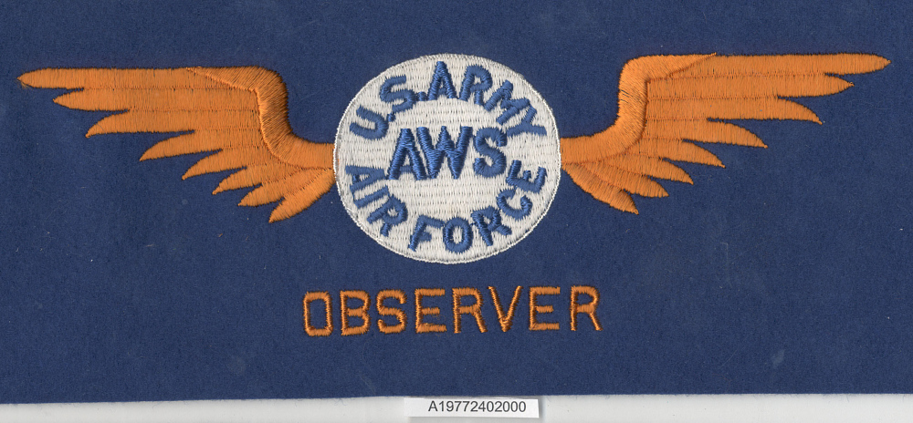 Armband, Air Warning Service Observer, United States Army Air Forces,Armband, Air Warning Service Observer, United States Army Air Forces
