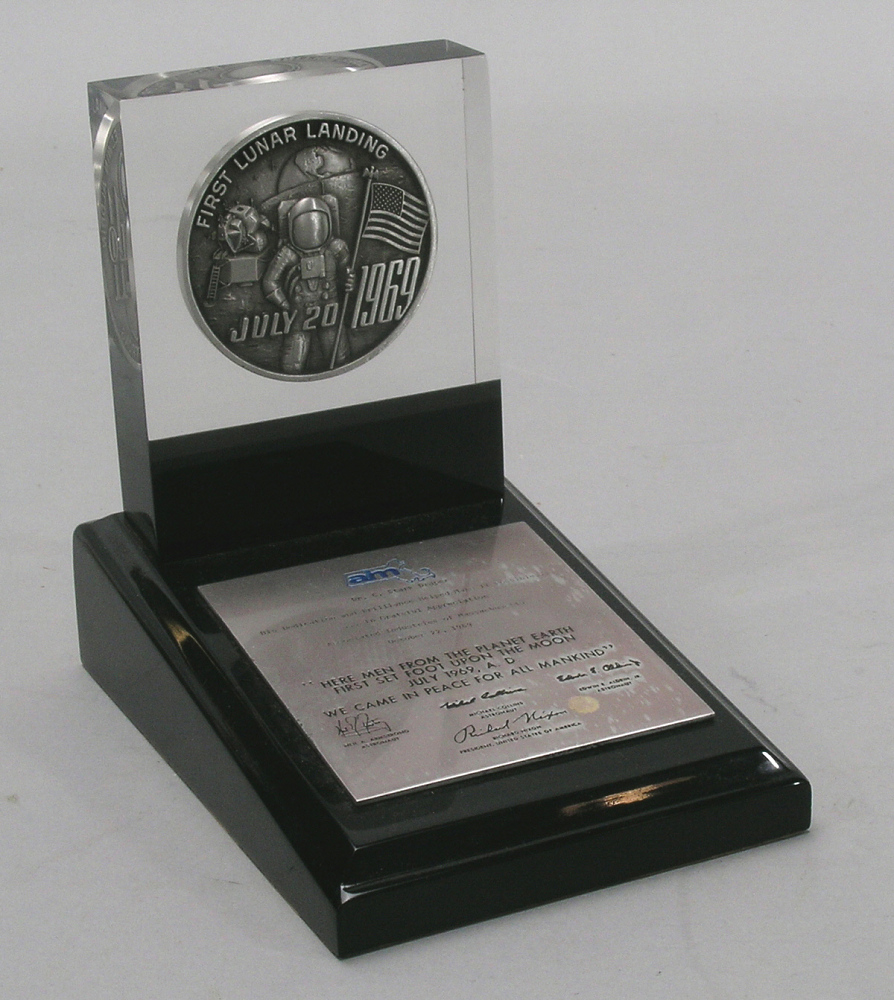 Desk Stand, Apollo 11 Commemorative, Associated Industries of Massachusetts