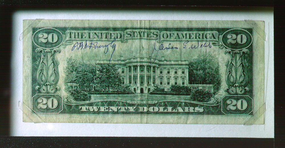 Currency, Autographed, U.S. $20 Bill, James Webb,Currency, Autographed, U.S. $20 Bill, James Webb