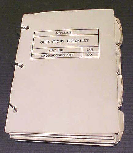 Notebook, Checklist, Command Module Operations, Apollo 11