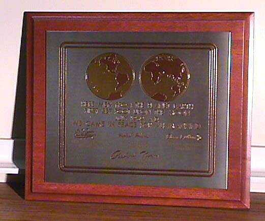 Plaque, Apollo 11 Commemorative, Michael Collins,Plaque, Apollo 11 Commemorative, Michael Collins