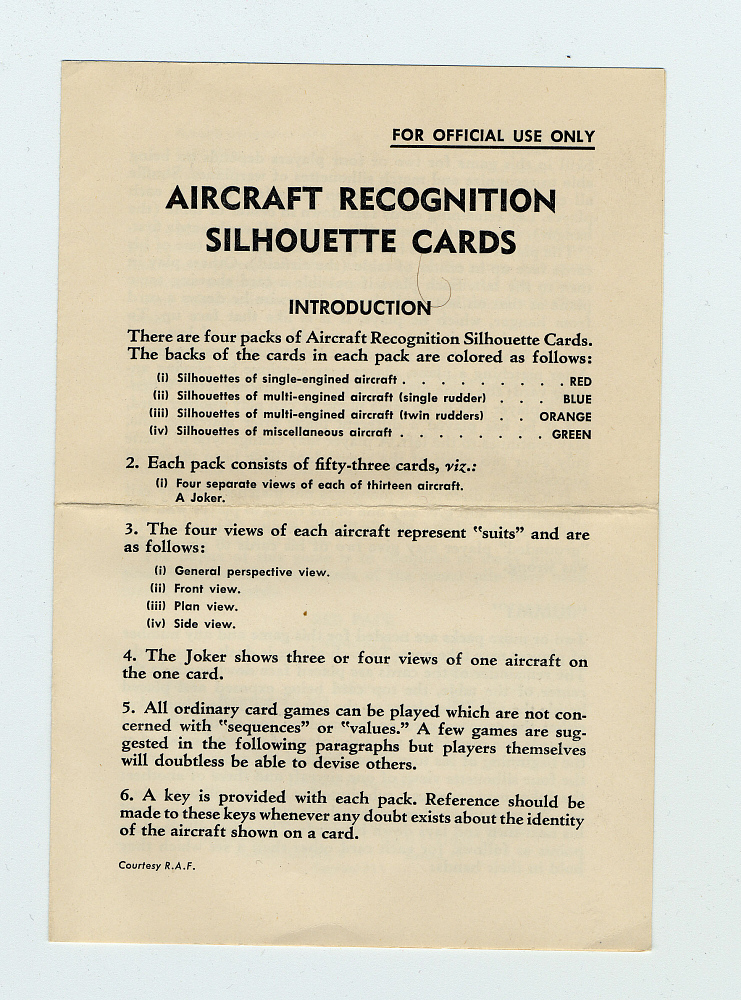 Aircraft Recognition Card Set, United States Navy