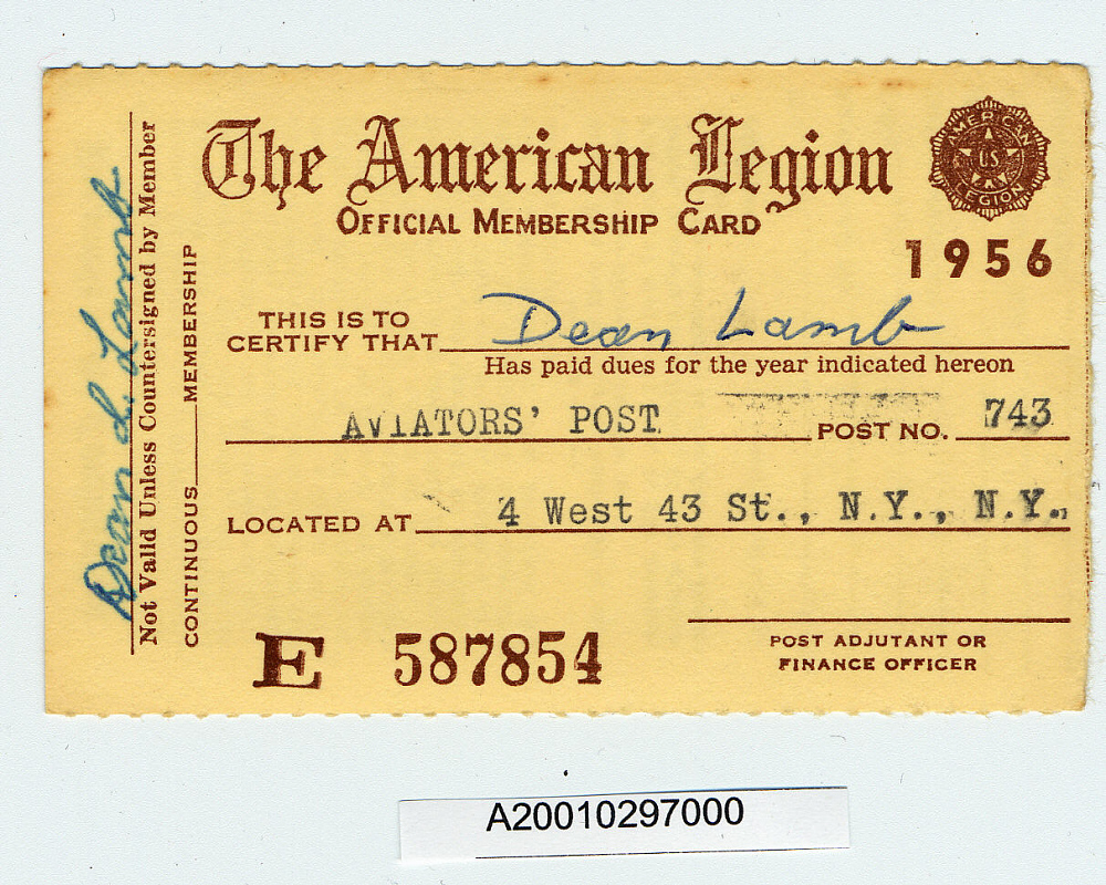 Card, Membership, American Legion