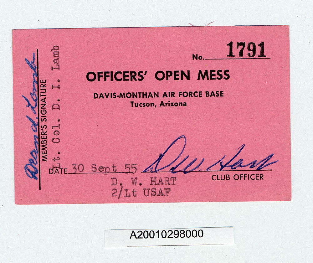 Card, Membership, Officer's Open Mess,Card, Membership, Officer's Open Mess