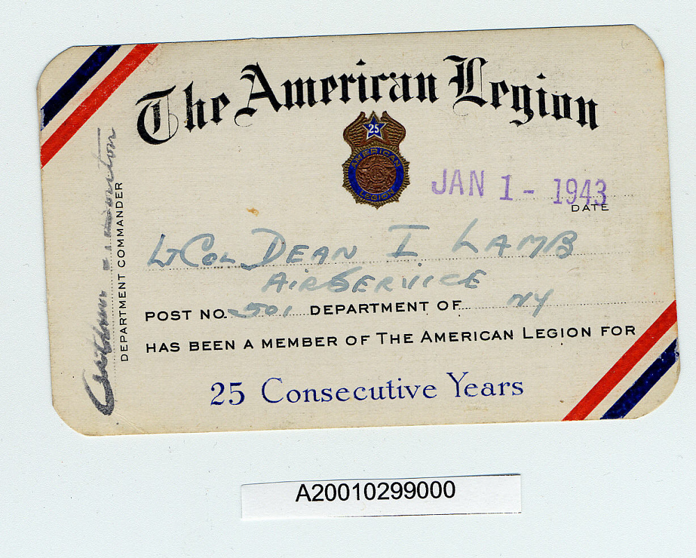 Card, Membership, American Legion,Card, Membership, American Legion