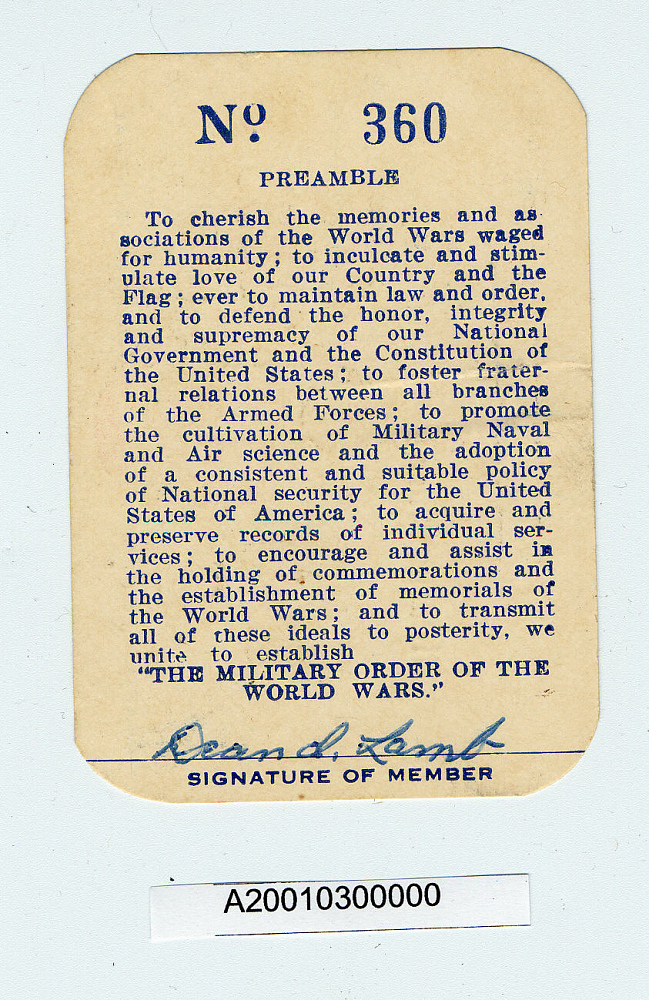 Card, Membership, Military Order of the World Wars