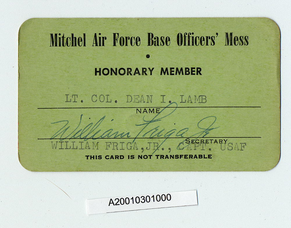 Card, Membership, Mitchel Air Force Base Officer's Mess
