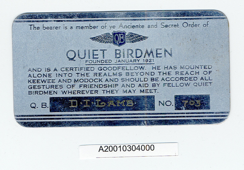 Card, Membership, Quiet Birdmen,Card, Membership, Quiet Birdmen