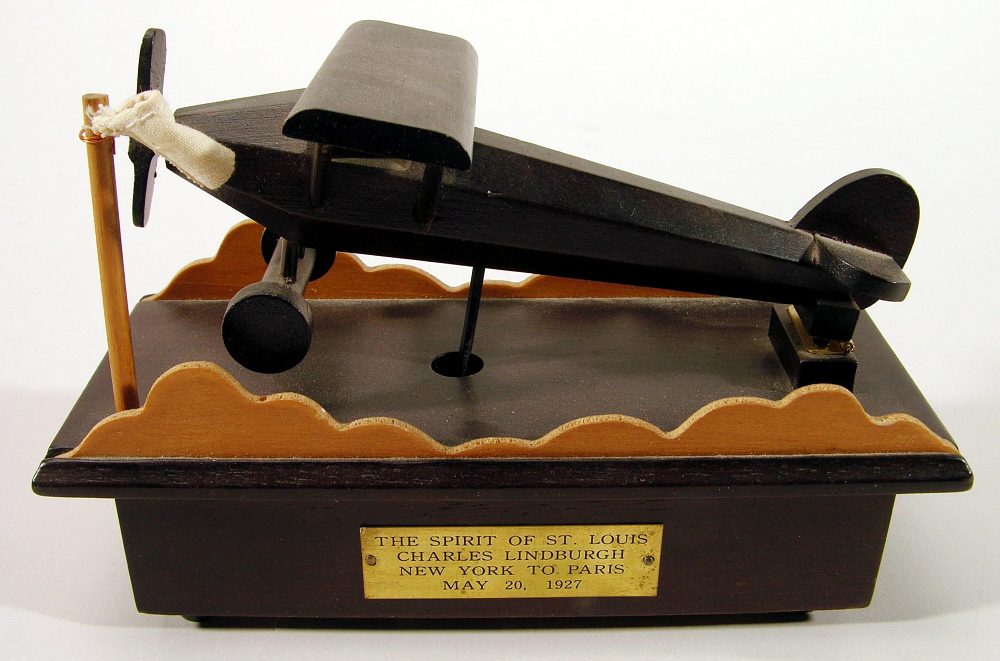 Music Box, Airplane Model, Lindbergh, King Collection,Music Box, Airplane Model, Lindbergh, King Collection