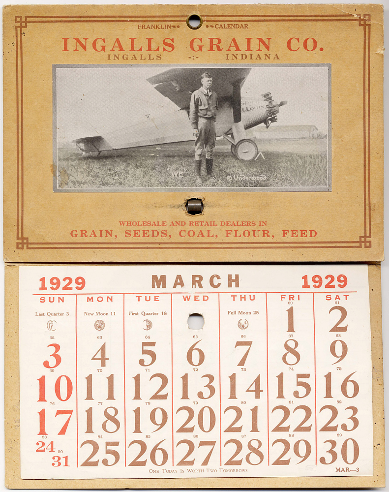 Calendar, Advertisement, Lindbergh, King Collection,Calendar, Advertisement, Lindbergh, King Collection
