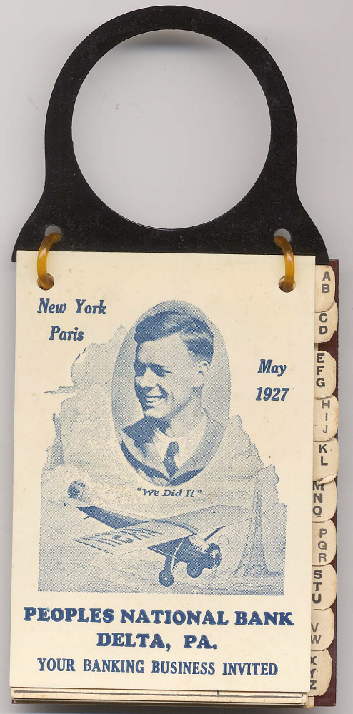 Address Book, Advertisement, Lindbergh, King Collection,Address Book, Advertisement, Lindbergh, King Collection