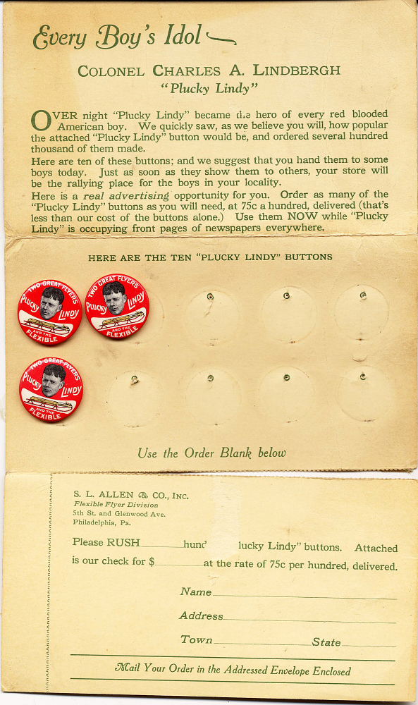 Buttons, Advertisement, Lindbergh, King Collection,Buttons, Advertisement, Lindbergh, King Collection