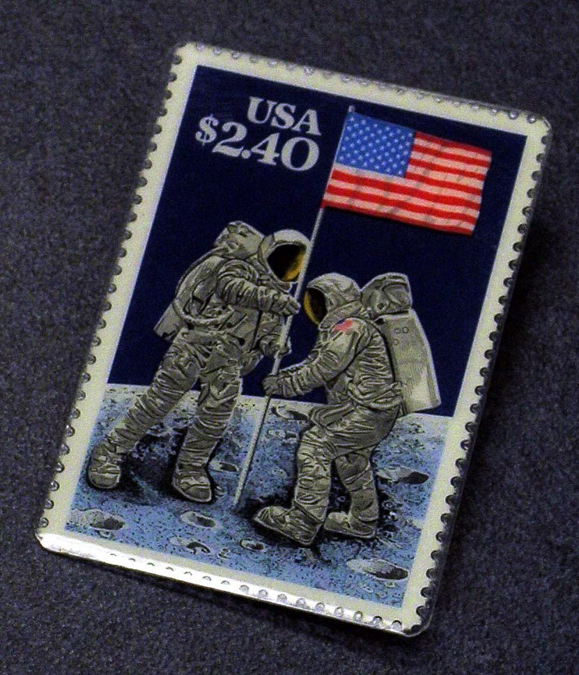 Pin, Postage Stamp, Apollo moon landings,Pin, Postage Stamp, Apollo moon landings