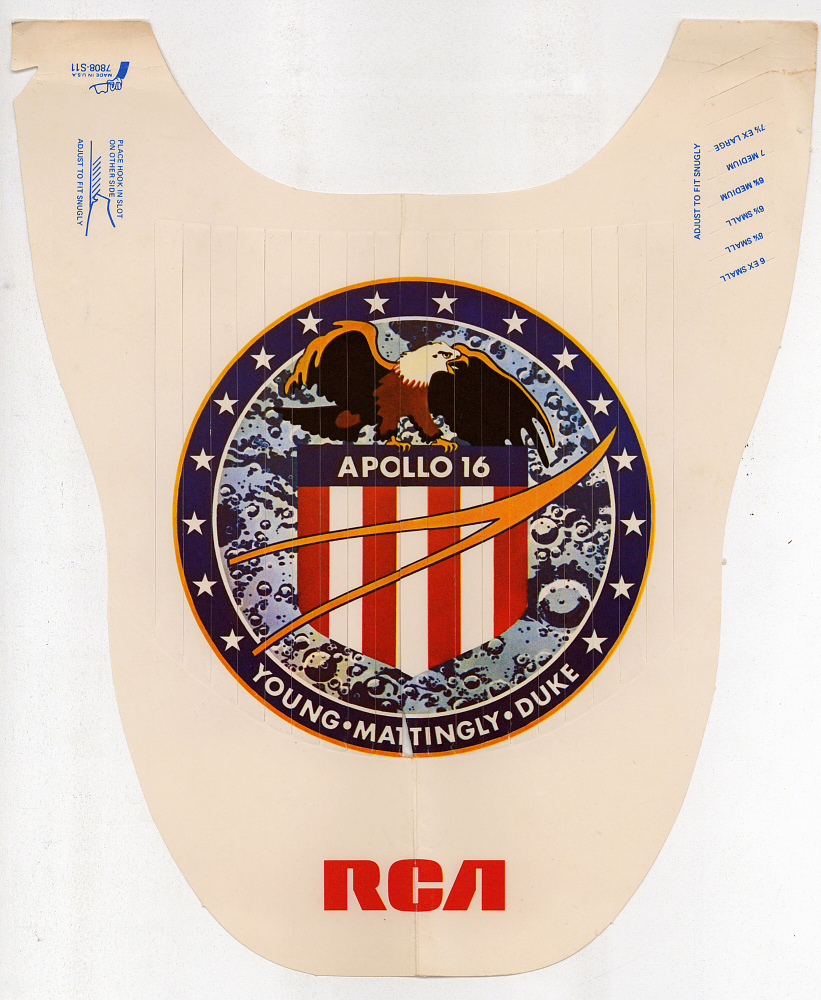 Hat, Cardboard, Apollo 16, RCA,Hat, Cardboard, Apollo 16, RCA