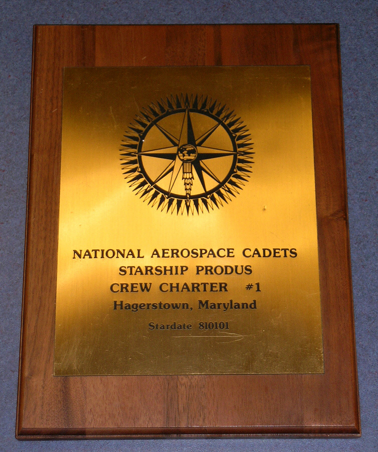 Plaque, National Aerospace Cadets, Crew Charter #1,Plaque, National Aerospace Cadets, Crew Charter #1