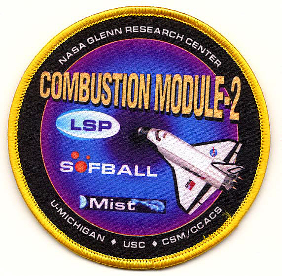 Patch, Experiment, Combustion Module-2, STS-107,Patch, Experiment, Combustion Module-2, STS-107