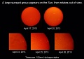 Sunspots appear and move away - April 2013