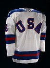 Team USA Hockey Jersey, worn by Bill Baker,  Name: U.S. Olympic Hockey Team,  Date: 1980s