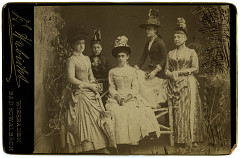 Paula Steinway von Bernuth as a young woman surrounded by her associates, circa 1890
