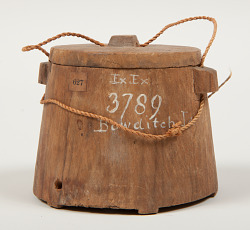 1 WOODEN CONTAINER WITH LID, APPARENTLY CARVED FRO...