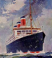 Painting of the SS Leviathan from ship's menu