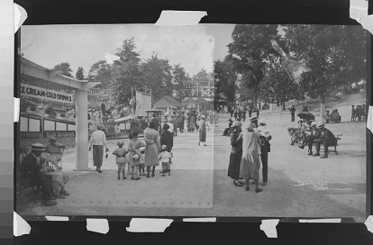 A raw scan of the original negative of Suburban Gardens Amusement Park, by Scurlock Studios, Nitrate