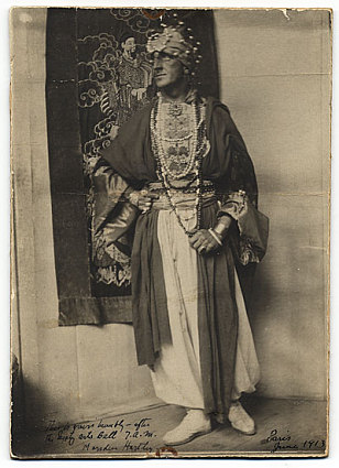 Marsden Hartley in costume at the Society Arts Ball in Paris, June 1913. Unidentified photographer.