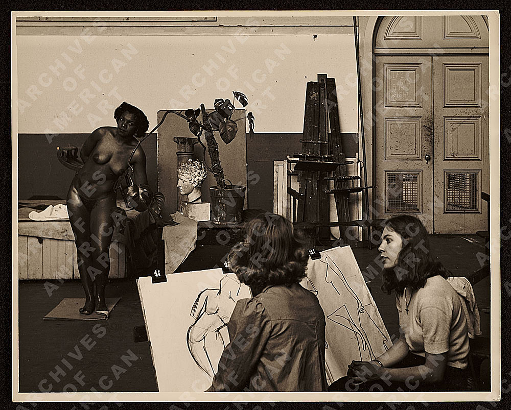 Florence Allen posing for a drawing class at the California School of Fine Arts by Harry Bowden