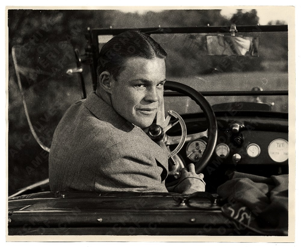 Harry Bowden in a car by Unidentified photographer