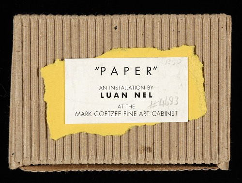 Paper : an installation by Luan Nel at the Mark Coetzee Fine Art Cabinet, by Luan Nel, 1997. Top cover. African Art Museum artists' books exhibit research image.