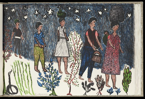 The ultimate safari by Nadine Gordimer ; with original hand-printed lithographs by Aletah Masuku, Alsetah Manthosi, and Dorah Ngomane, 2001. People Walking. African Art Museum artists' books exhibit research image.