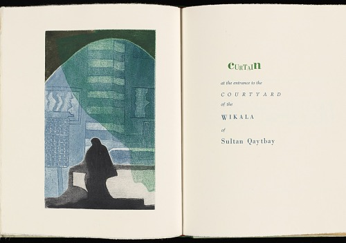 Egyptian green : views from Egypt with the writing of Amelia Edwards, Herodotus, Catullus, ancient coffin texts & various other descriptions by Susan Allix, 2003. Curtain. African Art Museum artists' books exhibit research image.
