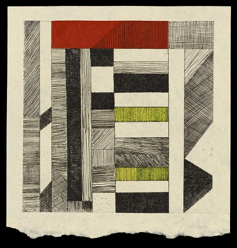 Listen, listen : Adadam Agofomma : honoring the legacy of Koo Nimo by Mary Hark, 2011. Kwami Etching Yellow and Red. African Art Museum artists' books exhibit research image.