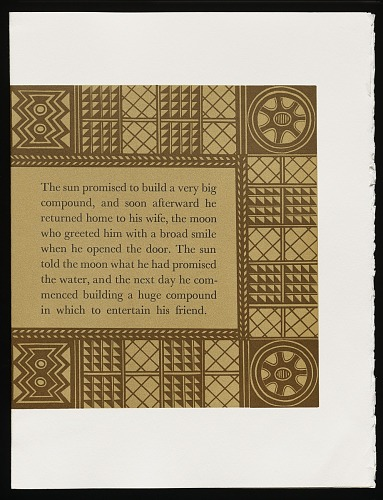 An African folktale by Willow Legge, 1979. The Sun Promised. African Art Museum artists' books exhibit research image.