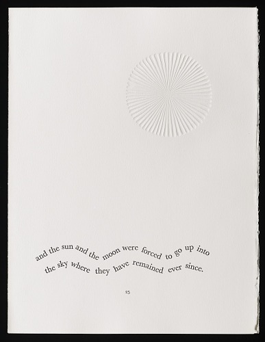 An African folktale by Willow Legge, 1979. The Sun and the Moon. African Art Museum artists' books exhibit research image.