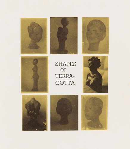 """Grace Kwami Sculpture by Atta Kwami, London, 1993. The words """"Shapes of Terra Cotta"""" are centered among 8 other images of sculptures, mostly human figures, heads and busts."""