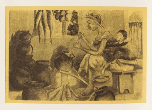 Grace Kwami Sculpture by Atta Kwami, London, 1993. Drawing of a woman sitting and stirring a pot over an open fire with cooking ingredients on the wall and other pots nearby on the floor.