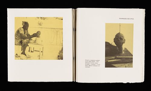Grace Kwami Sculpture by Atta Kwami, London, 1993. Book open to two pages, one showing an photo of a woman sculpting a human face out of clay and another of the finished piece.