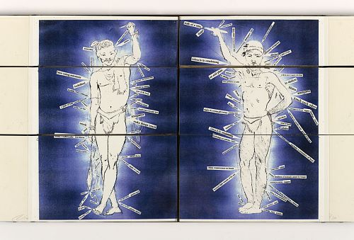 Emandulo Re-Creation by Robbin Ami Silverbeg and Kim Berman, 1997. Open book showing two pages of human men figures wearing loincloths. Small labels point to parts of the mens' bodies. The background is dark and blue.  The pages are split into three horizontal sections that may be turned independently.