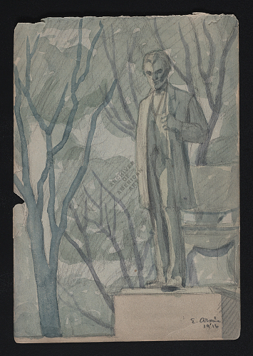 Watercolor sketch of sculpture of Abraham Lincoln in Lincoln Park, Chicago, 1916.
