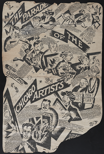 The parade of the Chicago artists to the No-jury Artists cubist ball, 1923 October.